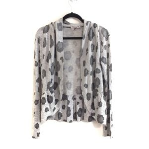 Rebecca Taylor Leopard Print Open Front Cardigan